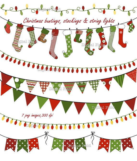 INSTANT DOWNLOAD Christmas Buntings, Stockings & Lights clip art set-red green patterned holiday printable digital clipart