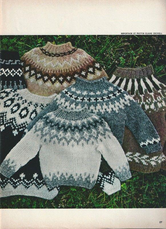 Les pulls islandais que j'ai tricoté couleur pastel rose en attendant patiament qu'Elo sorte de l'hopital. ....