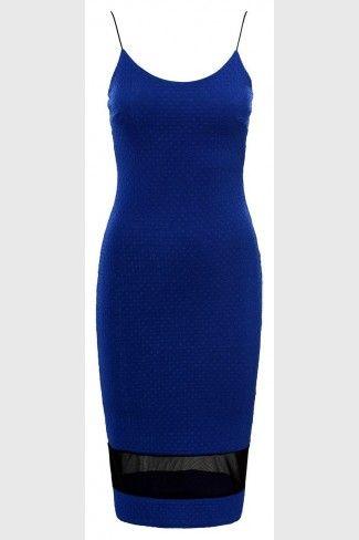 Εφαρμοστό μίντι φόρεμα με ανάγλυφα σχέδια - Μπλε Ρουαγιάλ