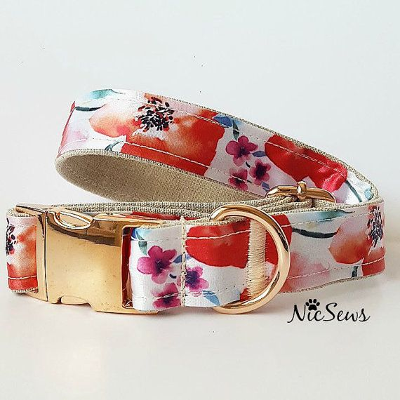 Dog Collar, Watercolor, Rose Gold, Floral dog collar, Fancy Dog Collar, Gold Dog Collar, dog collar floral, Girl dog collar