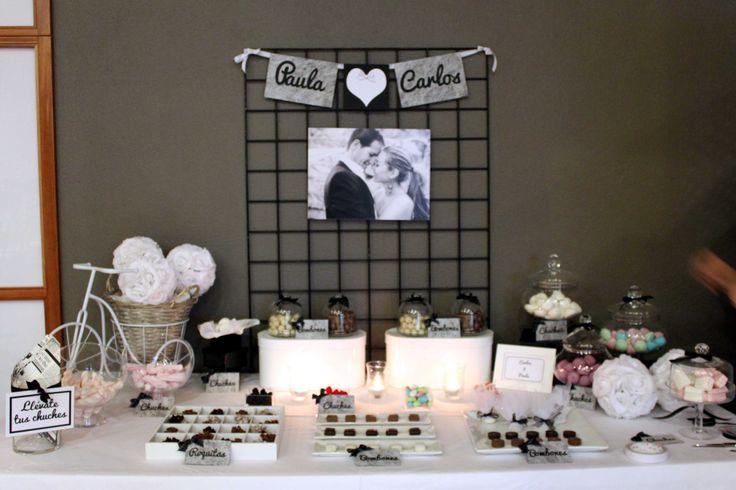 Mesa dulce para boda en blanco y negro - Black and white sweet table for a wedding