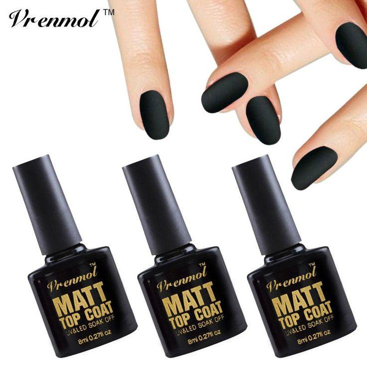Vrenmol 1pcs Matte Top Coat Gel Lacquer Matt Top Gel Soak Off Cleaning Transparent Matt Top Coat UV Gel Nail Polish