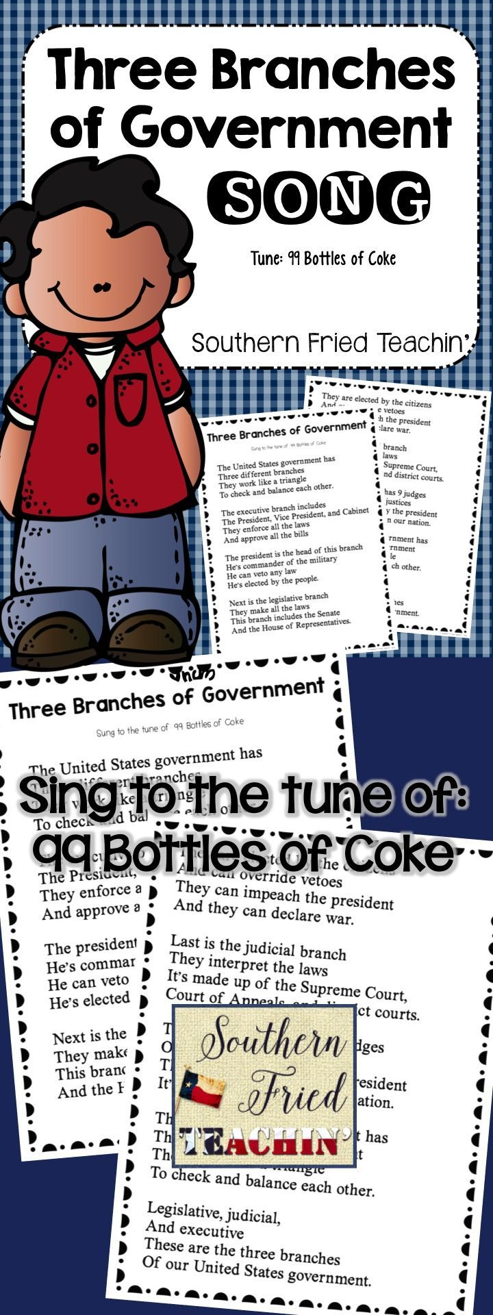 Three Branches of Government Song | Government | Branches of Government | United States Government  This song is about the three branches of government: executive, legislative, and judicial.   It is sung to the tune of 99 Bottles of Coke.   It can be blown up into big posters for you to hang on your wall. I also included smaller versions for students to glue into their interactive notebooks.