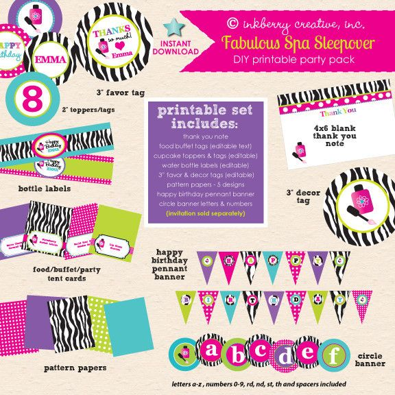 Fabulous Spa Sleepover Birthday - DIY Printable Party Pack