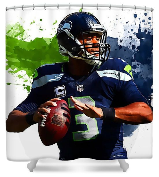 russell wilson seattle seahawks shower curtain