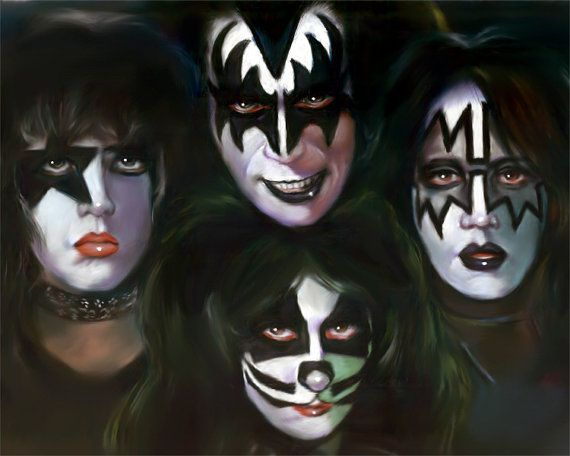 "The Kiss, drawing, poster, print, Hard Rock Group poster, reproduction, artwork, painting, 16""x20"",22.4""x28"""