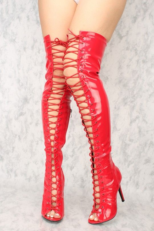 4fb0273b628 Sexy Red Lace Up Open Toe Thigh High Heels Patent | Interesting plus ...