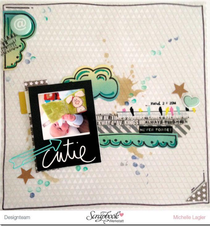 Inspirationsgalerie - Layout Werkstatt - Scrapbook Werkstatt - Layout mit Vellumpapier als Hintergrund und Bleistiftstempel