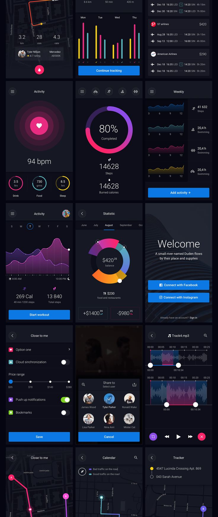 Pin is a huge set of pre-made UI elements that will help you to speed up your app design process. With hundreds of UI elements like buttons, switchers, tabs, bars, and over 50 combined blocks with useful tools like cards, popovers, charts and widgets - this huge UI Kit has what you need for your next mobile app! Pin UI Kit is compatible with Sketch  Photoshop.