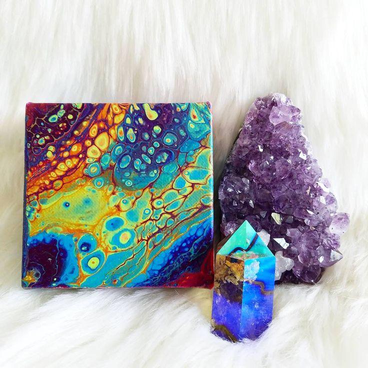 "Coasting on Color. 4x4"" Acrylic on canvas. For sale at dirtypourart.com link in bio. #dirtypourart #fluidartgallery #fluidsoul @artmazemag @hifructosemag @juxtapozmag @liquitexofficial #rainbows #rainbowart #rainbowgalaxy #galaxy #galaxyart #spaceart #lgbtqart #texasart #texasartist #houstonartist #houstonart #meltedrainbow #acidart #trippyart #lisafrank #lgbtq #lisafrankart #lgbtqpride #crystalart #oceanart #mermaidart #rainbowpride #colordysphoria #psychonaut #psychedelicart @lisa_frank"