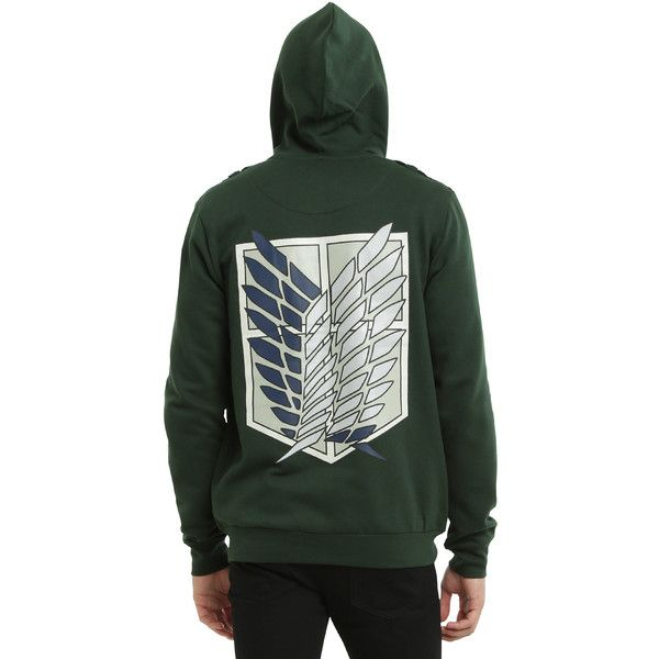 Attack On Titan Scouting Legion Jacket Hoodie Hot Topic ($1) ❤ liked on Polyvore featuring tops, hoodies, hooded sweatshirt, green top, cotton zip hoodie, embroidered hoodies and hooded zipper sweatshirts