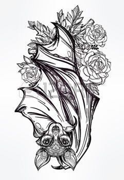 Beautiful Vampire Bat Tattoo: Ornate Nocturnal Bat With Roses. Design Tattoo Art.  Isolated Vector