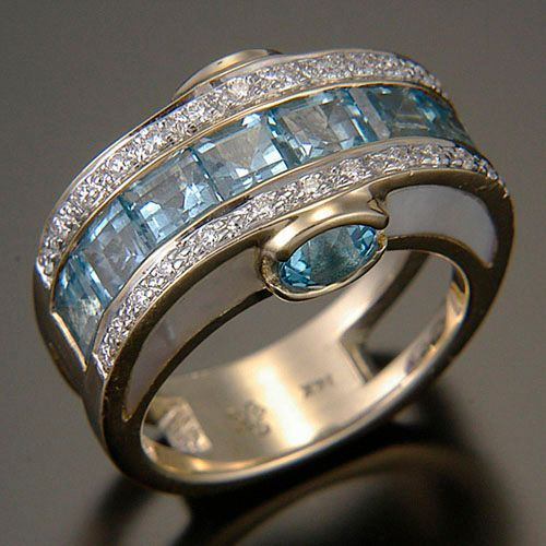 Randy Polk Designs - Blue Topaz, Mother-of-Pearl, Diamonds