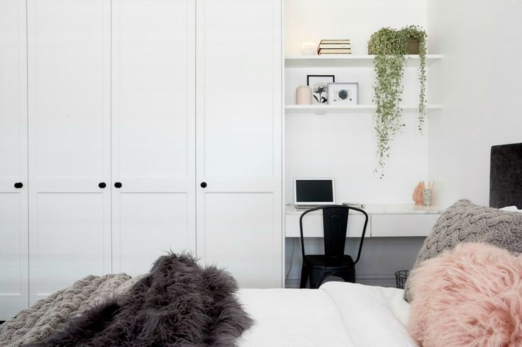 White Shaker Style doors supplied by Cabinetmakers Choice in Ronnie & Georgia's Guest Room on The Block 2017
