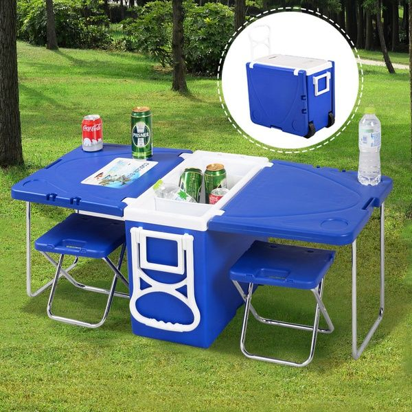 Multi Function Rolling Cooler Picnic Camping Outdoor W Table 2 Chairs Blue Red Wish Camping Coolers Camping Table Foldable Picnic Table