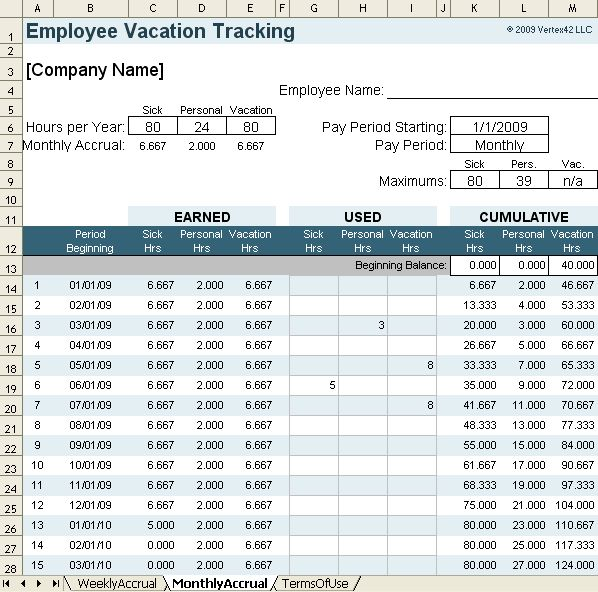 Printable Payroll Ledger | Vacation Accrual Spreadsheet Template ...