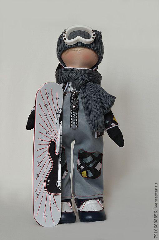 Купить Сноубордист -гитарист - сноуборист, гитарист, коллекционная кукла, интерьерная кукла, авторская ручная работа