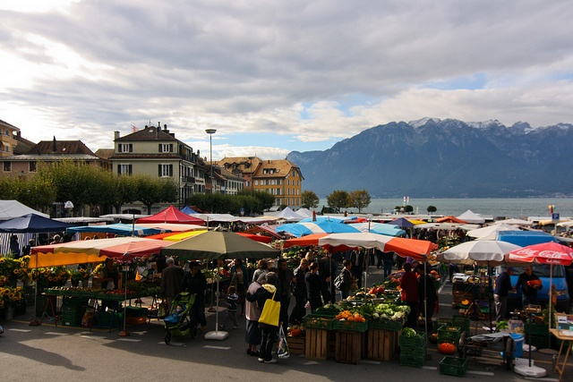 Vevey Farmers Market  in Switzerland   I love marketplaces! So interesting.