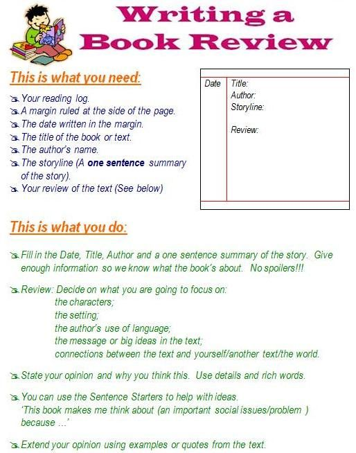 How to write a book review. Also many other pages on writing, reading, math...
