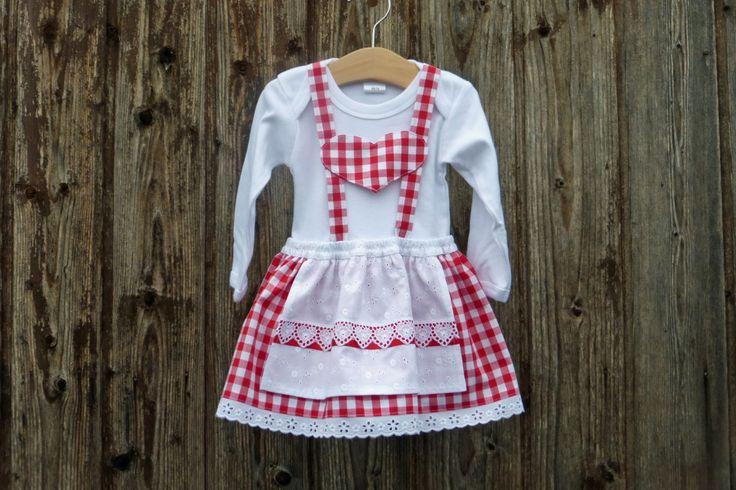 Babys erstes Dirndl, Babydirndl, rotes Taufkleid, Taufe in Bayern, Babybody im Trachtenstil, Dirndl fürs Kind, Kleid fürs Oktoberfest von NaehereiAllerlei auf Etsy