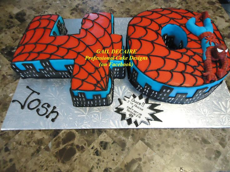 Spiderman Cake 40th Birthday  Gail Decaire - Professional Cake Designs (on Facebook) Like, Share or Follow me! I give tortorials on cakes and fondant figurines :)