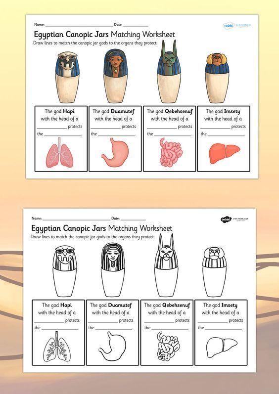 KS2 Ancient Egypt- Canopic Jars Organs Worksheet: