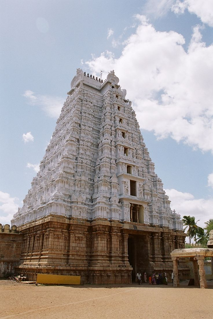 White Gopuram at Srirangam Temple. Srirangam is an island, and a part of the city of Tiruchirapalli (also known as Trichy or Tiruchi), in South India. It is bounded by the Kaveri River (also known as Cauvery ) on one side, and the Kaveri distributary Kollidam on the other side. Srirangam is home to a significant population of Srivaishnavites (followers of Lord Vishnu, one of the triumvirate of Hindu Gods the other two being Lord Siva, the Destroyer and Lord Brahma, the Creator).