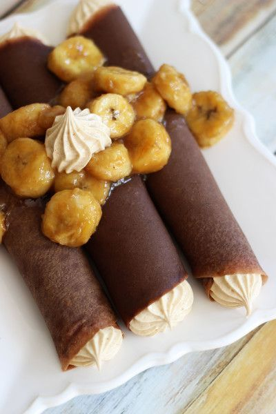 Chocolate Crepes with Peanut Butter Marshmallow Filling - so yum