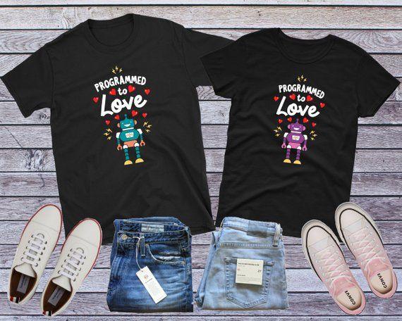 9de221fc5 Matching Couple Shirt, Geek Couple T-shirt, Nerd Couple, Robot Couple,  Robot Love, Code Shirt, Computer Science, Programmer Gift, Robot Gift