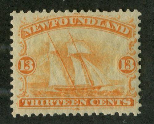 Newfoundland-30-13c-Orange-Schooner-1865-Cents-Issue-VF-76-OG
