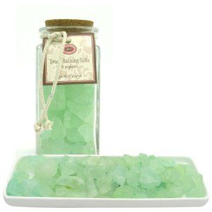 """Beach Bathing Salts & Potpourri - Perfect Beach by Jane Cosmetics. $19.95. 2.75"""" x 2.75"""" x 6""""; 17 oz. Mineral rich sea salt. Relax and indulge in a therapeutic bath with our Beach Bathing Salts & Potpourri. These huge chunks of mineral rich sea salt come in sand tumbled colors of beach glass and they soften and silken your skin. These salts also double as attractive potpourri for your room. Comes in attractive glass jar. Choose from various scents."""