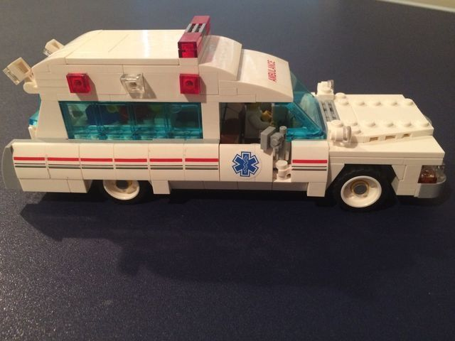 Lego Ambulance - Side view of Ambulance that was converted from Ghost Busters Hearse.