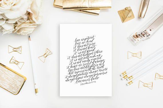 love is patient / 1 corinthians 13:4-8a / calligraphy print