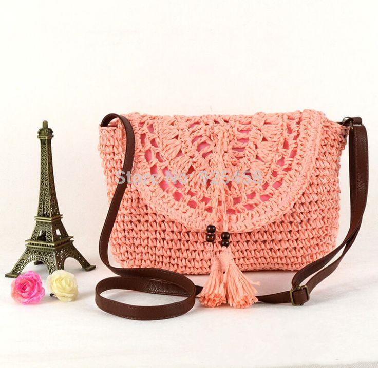 Hotsale mulheres artesanal crochê de palha bolsa de ombro Cross corpo saco de praia em Bolsas Atravessadas de Bagagem & Bags no AliExpress.com | Alibaba Group