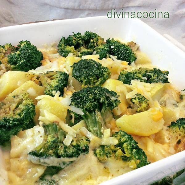 Brócoli con patatas al queso < Divina Cocina