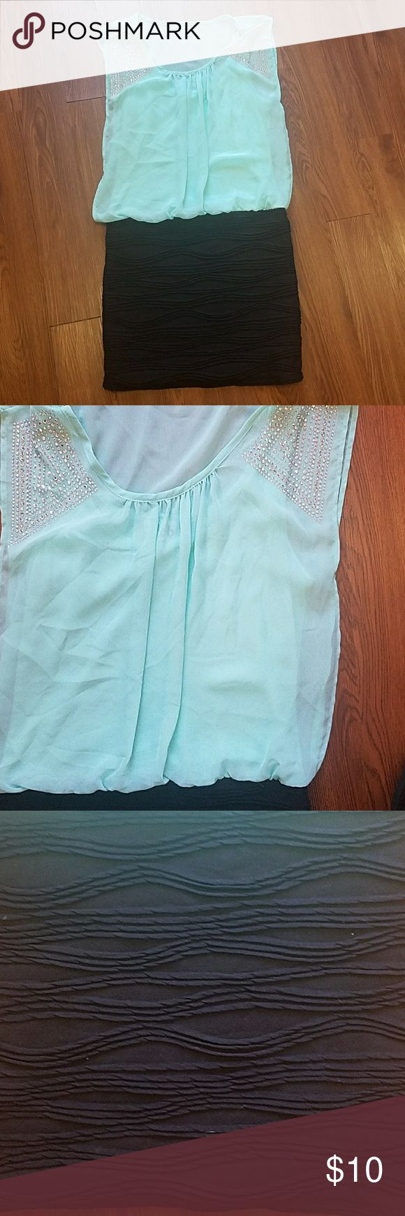 Deb Dress Gems on shoulders. EUC. All gems intact. Teal color. Dresses Mini