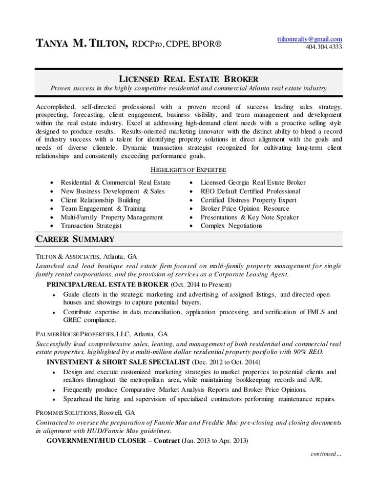 Real estate broker resume in 2020 resume examples real