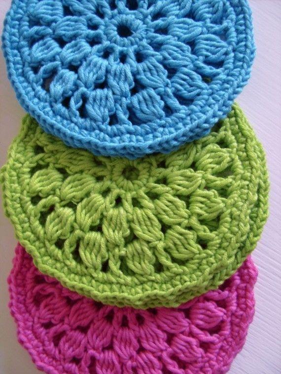 Round Crochet Coasters from CasaDiAries: Crochet Coasters, Crochet ...