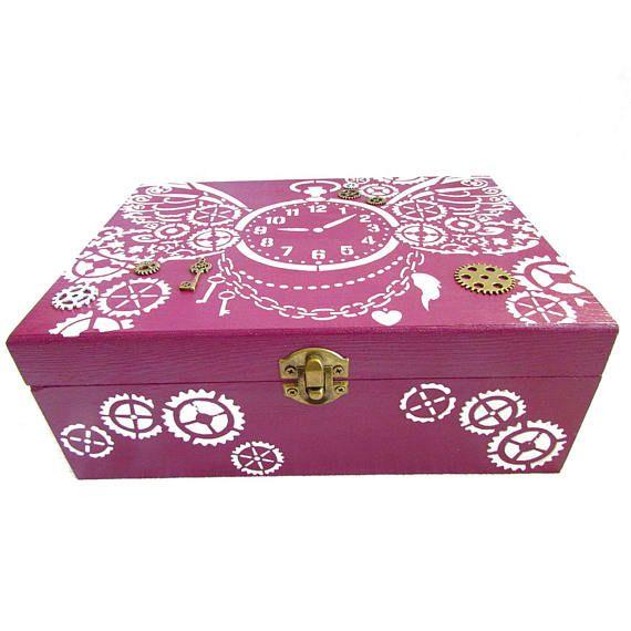 Steampunk box watch box vintage box custom gift wedding