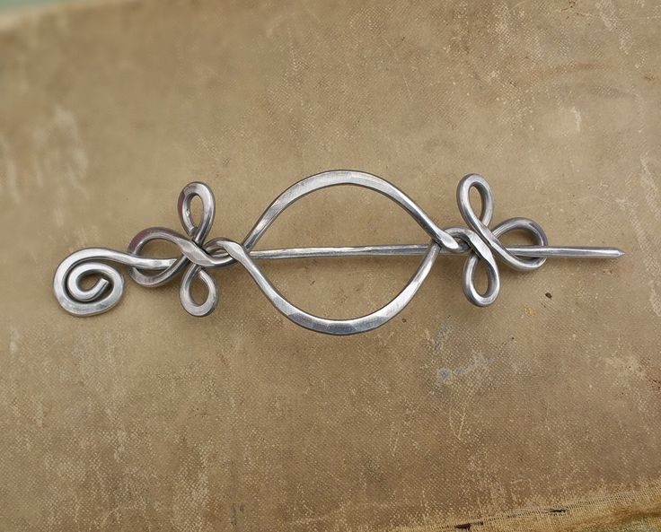 St Justin, Pewter Lindisfarne Spirals Oval Hair-Slide ** You can get ...