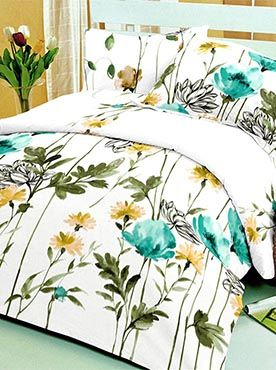 This pastural floral scene is vibrant but elegantly feminine. This elegant look meets top quality in our bed products. The set of double bedsheet with two pillow covers is made of 100% cotton fabric that is of the best quality. Our products guarantee longevity through wear and washes. The colours will remain fresh and the fabric will remain soft to touch. You need look no further to find quality and comfort. Info