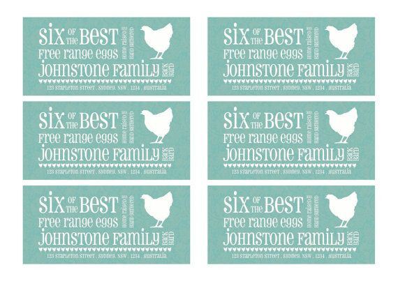 A4 size PDF version of half dozen egg carton labels, personalised