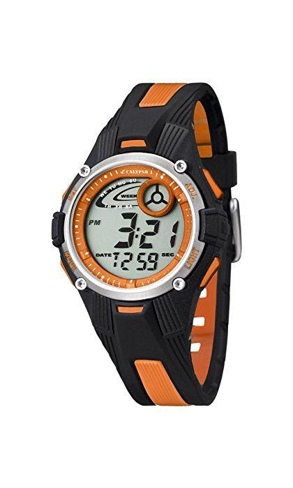 Calypso 5558/4 - Reloj para niños de cuarzo, correa de goma color varios colores (con luz, cronómetro, cuenta atrás, alarma) Reloj de NIÑO (porque tengo muñeca pequeña) y de COLOR NARANJA
