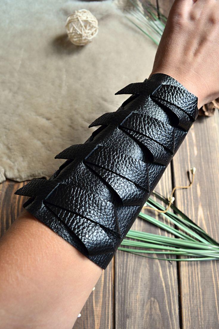 Black leather wrist sleeve extra wide bold arm guard
