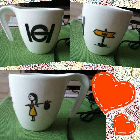 Ballagási meglepink Drága Unokahúgomnak gimis logóval ❤ kávés bögre diy porcelánfilc