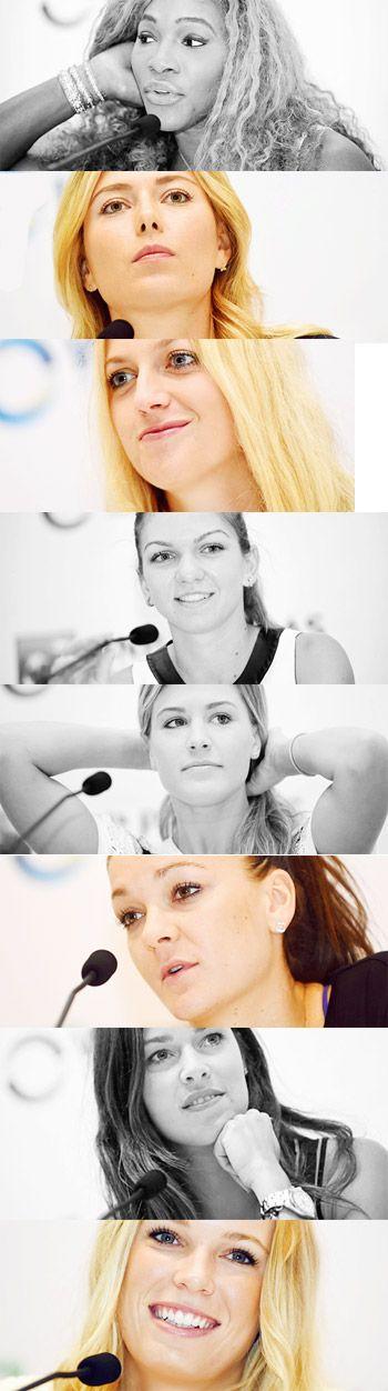 2014 #WTA Finals  Pre-Tournament Press Conferences serena williams maria sharapova petra kvitova simona halep eugenie bouchard agnieszka radwanska ana ivanovic caroline wozniacki