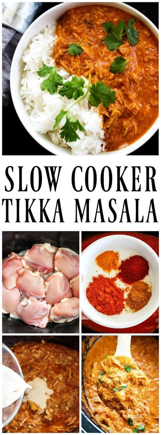 HEALTHY SLOW COOKER TIKKA MASALA - Made with aromatic Indian spices, tomato sauce, chicken and coconut milk, it's one of our favorite slow cooker meals. #slowcooker #crockpot #tikkamasala #chicken