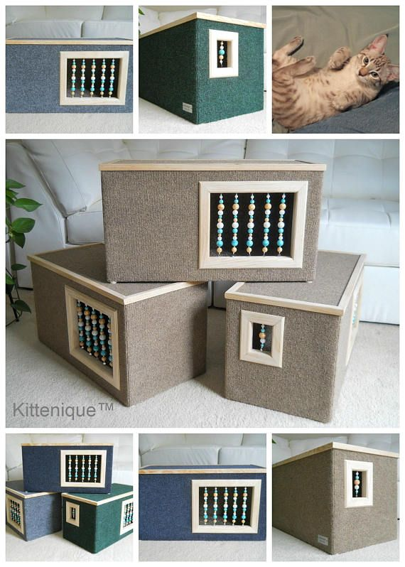 Kittenique Beaded Cat House. Handcrafted wooden cat house featuring a unique beaded doorway and window that will satisfy your cat's curiosity.