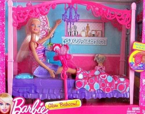 barbie glam bedroom playset w doll 4 poster canopy style bed am