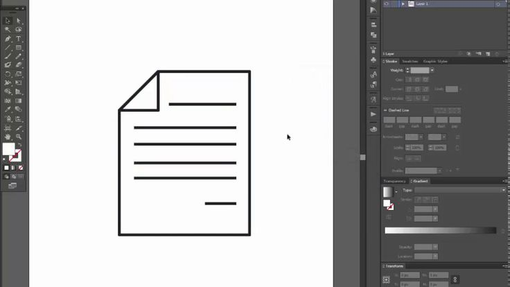 Paper icon - Adobe Illustrator cs6 tutorial. How to draw bent piece of p...